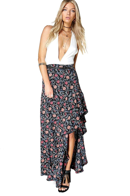 Black Womens Avalon Ruffle Side Bohemian Maxi Skirt