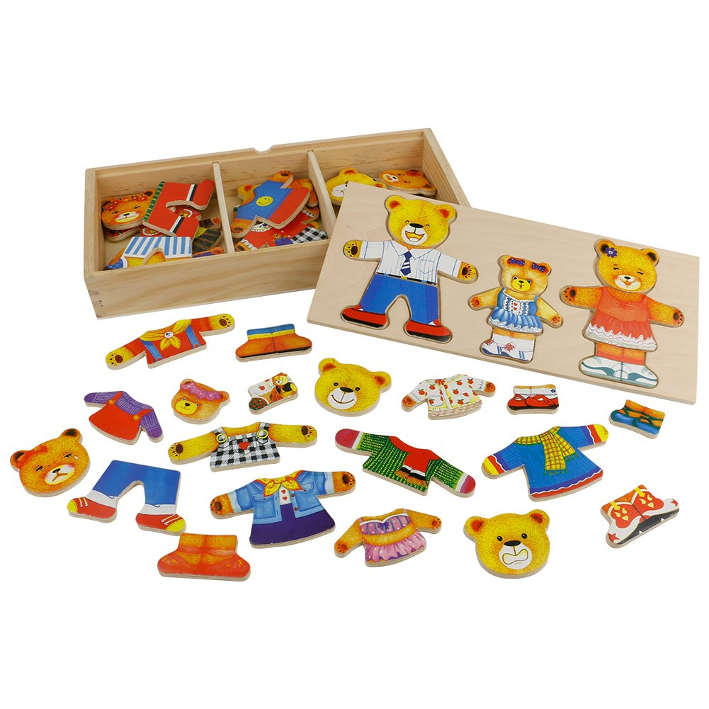 Wooden Jigsaw Puzzles Bear Family Dress up Educational Toys Best Friend Gifts for Toddler Kids Boys Girls with Storage Case 54 PCS