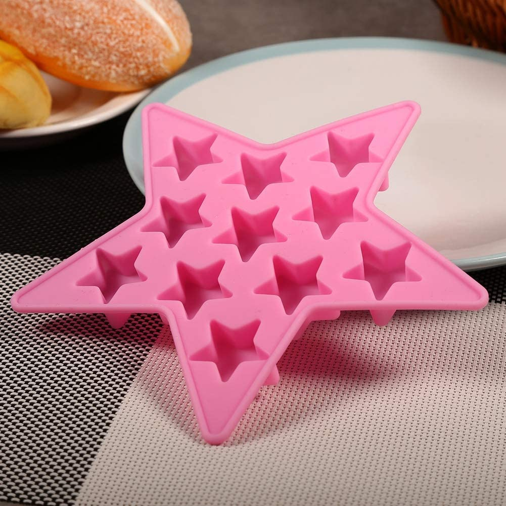 Pink TOPINCN Five Star Shaped Cool Silicone Ice Cube Tray Freeze Mold Maker Tools for Club Bar Party