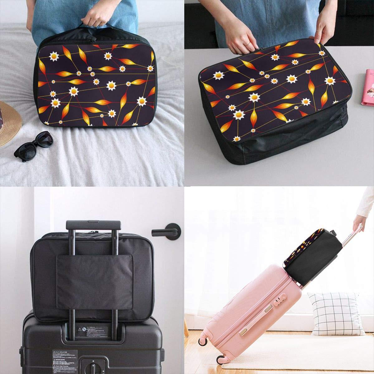 Flower Bud Pattern Orange Travel Lightweight Waterproof Foldable Storage Carry Luggage Large Capacity Portable Luggage Bag Duffel Bag