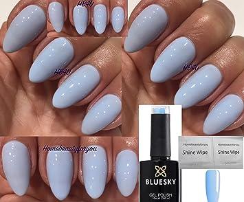 Bluesky 80596 Creekside Light Baby Blue Pastel Nail Gel Polish UV LED Soak  Off 10ml PLUS 2 Luvlinail Shine Wipes