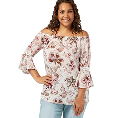 92b08ad667 Amazon.com  Kasenxet Women Off Shoulder Blouse Sexy Ruffle Casual T Shirt  Floral Print Plus Size  Clothing