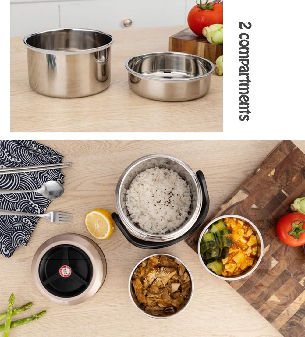 1 Spazzola per la Pulizia e 1~2 contenitori per Alimenti,Gold,1.2L Contenitore Termico per Alimenti Isotermico Acciaio Inossidabile DLWLZ Thermos per Alimenti
