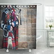 Semtomn Shower Curtain Scotland Music Playing The Bagpipes on Streets of Edinburgh Shower Curtains Sets with 12 Hooks 72 x 72 Inches Waterproof Polyester Fabric