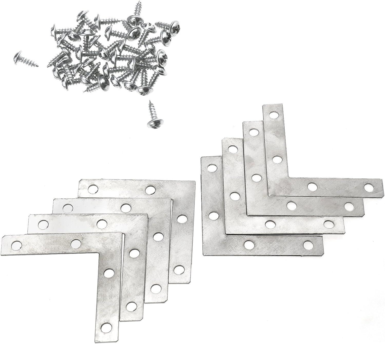 Set 4 Staffe Staffa Angolari Forate In Metallo Ottonato 50x50Mm Con Viti dfh