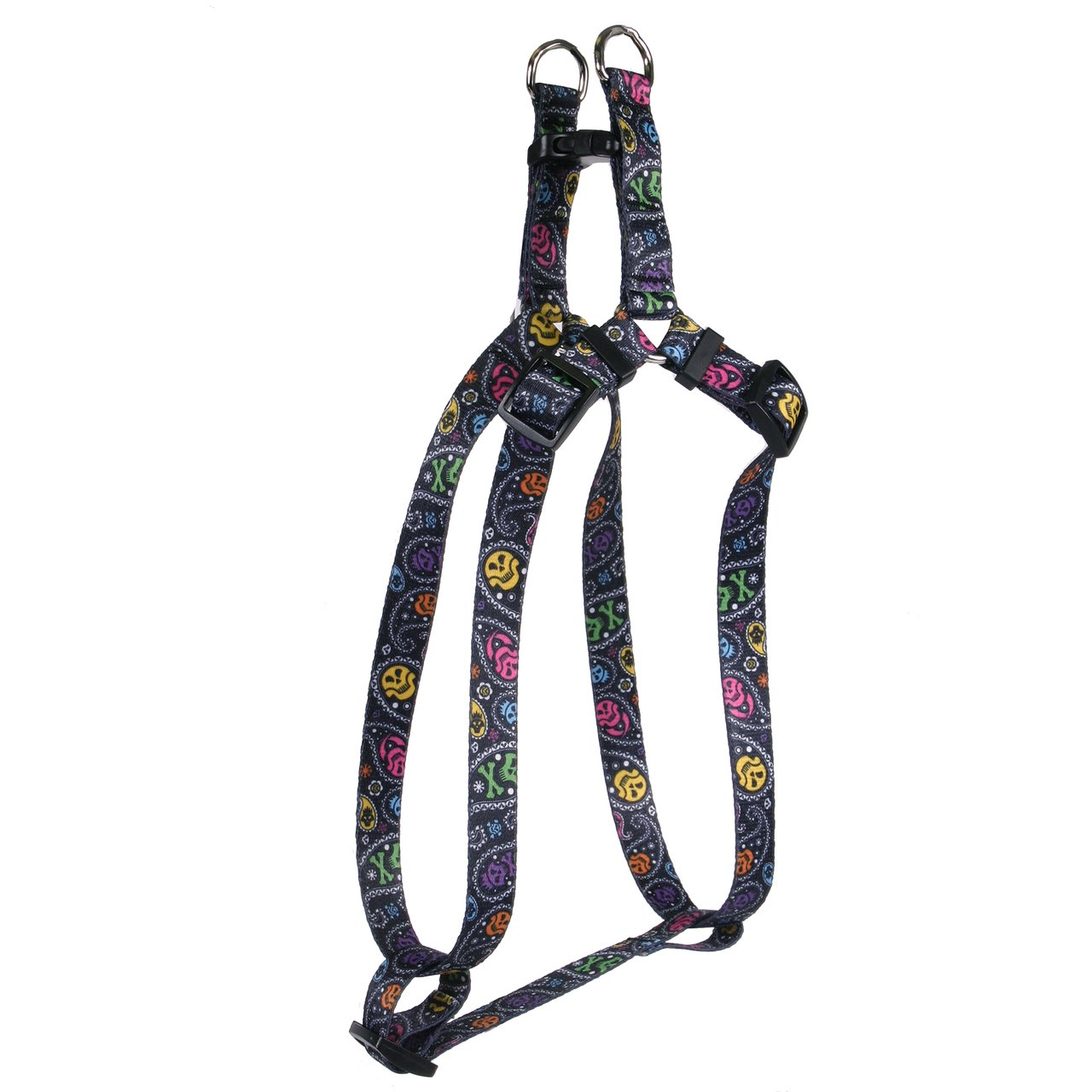 Yellow Dog Design Paisley Skulls Multi Step-In Dog Harness, Large-1'' Wide and fits Chest of 25 to 40'' by Yellow Dog Design