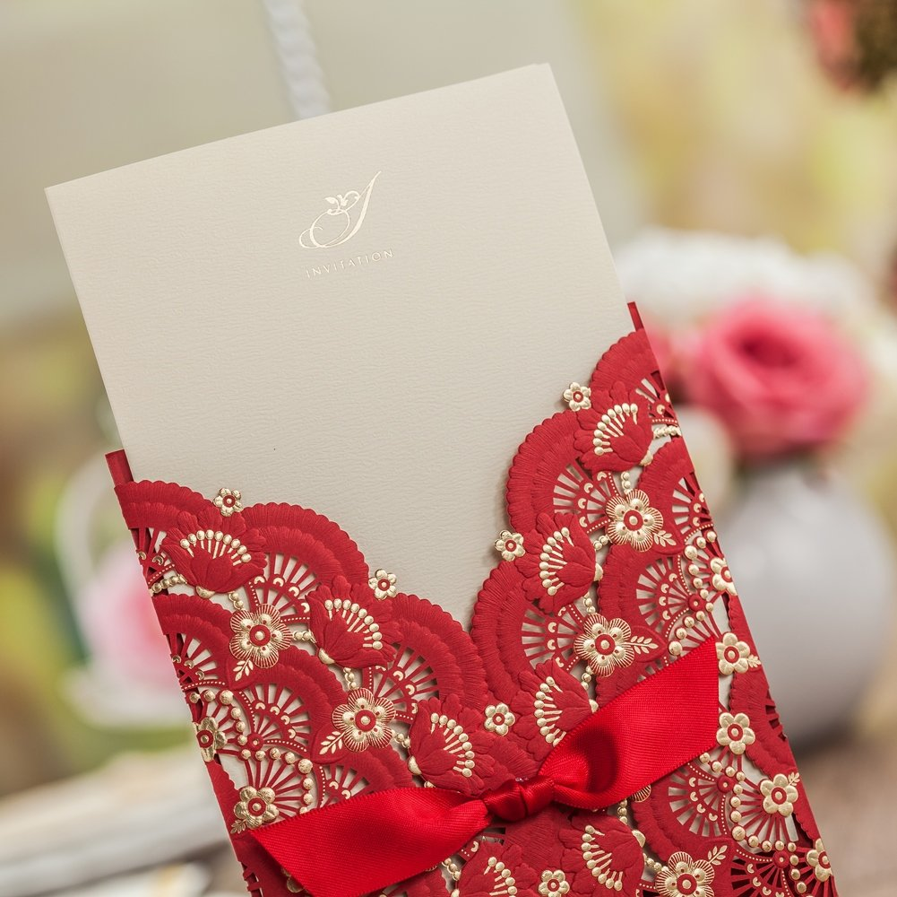 Amazon.com : Wishmade 1x Red Color Gold Foil Laser Cut Lace Wedding ...
