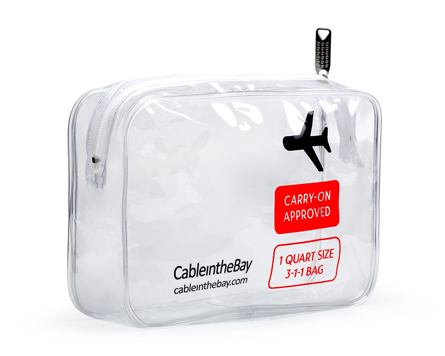 TSA Approved Toiletry Bag | Clear Travel Bag| Makeup Bag Travel Airport Airline Compliant Bag | Carry-On Luggage Travel Backpack for Liquids/Bottles| Men's/Women's 3-1-1 Kit +10 Travel Hacks EBOOK Cableinthebay