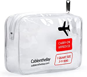 TSA Approved Toiletry Bag | Clear Travel Bag| Makeup Bag Travel Airport Airline Compliant Bag | Carry-On Luggage Travel Backpack for Liquids/Bottles| Men's/Women's 3-1-1 Kit