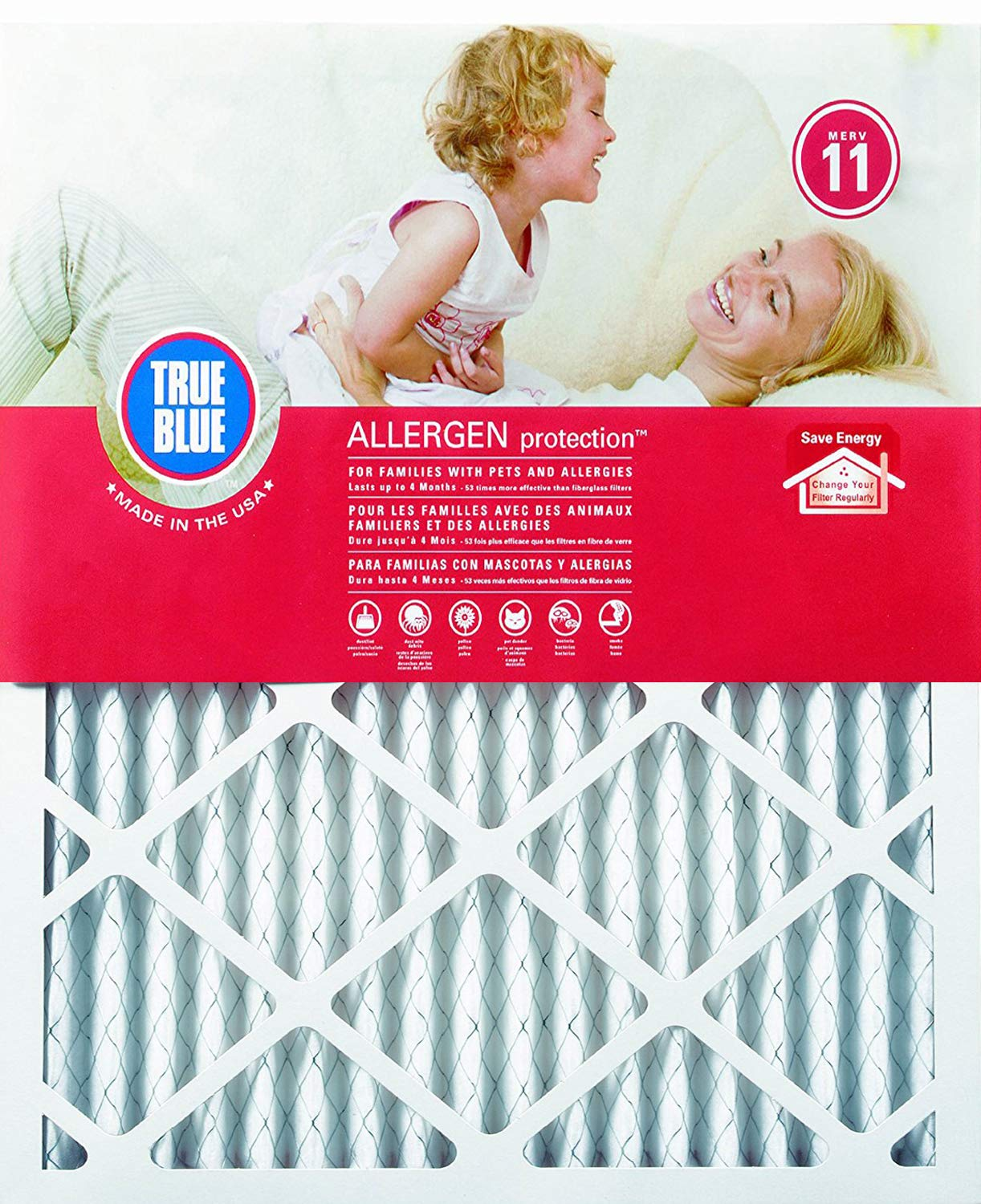 5. True Blue Allergen 14x20x1 Air Filter, MERV 11, 4-Pack