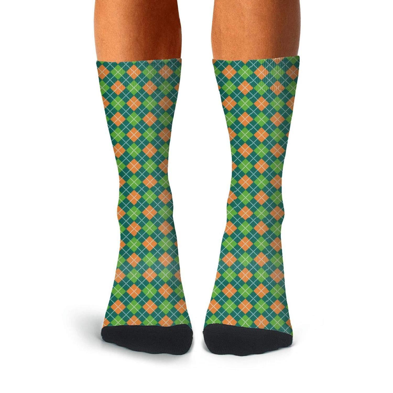 Mens Athletic Cushion Crew Sock Square shape shamrock clover irish color Long Sock Casual