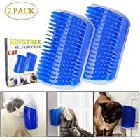 Kingtree Cat Self Groomer, 2 Pack Cats Corner Groomer Wall Corner Massage Comb Grooming Brush Perfect Massager Tool for Long & Short Fur Kitten Puppy - Blue