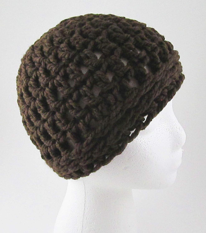 Amazoncom Chunky Crochet Messy Bun Hat Brown Ponytail Hat Handmade