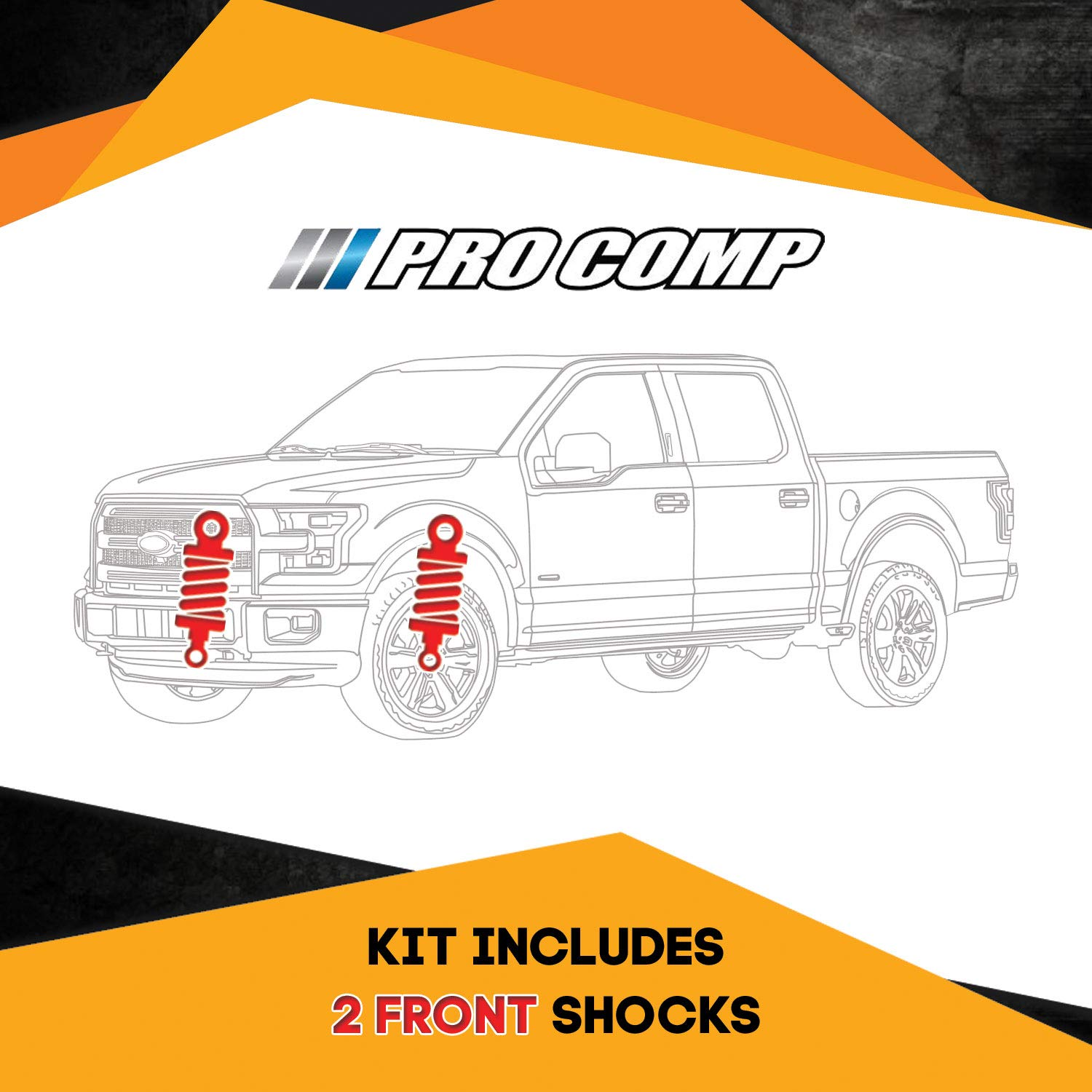 Pro Comp ES9000 2 Front Shocks Kit for GMC Sierra 92-98 4WD 0-2 inch Lift Ride Twin-tube replacement Gas Charged Shock absorbers