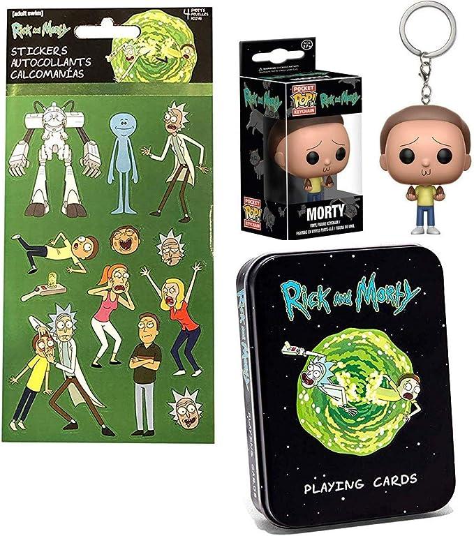 Coco Morty Pocket Pop! Llavero con figura de Rick y Morty Tin Pack personajes jugando cartas y hoja de pegatinas paquete de 3 artículos: Amazon.es: Juguetes y juegos