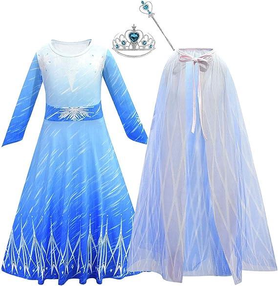 IMEKIS Ragazze Principessa Regina delle Nevi Elsa Abito Congelato Fiocco di Neve Fiaba Vestire Vestito da Partito Cosplay con Mantello Costume di Carnevale di Halloween di Natale