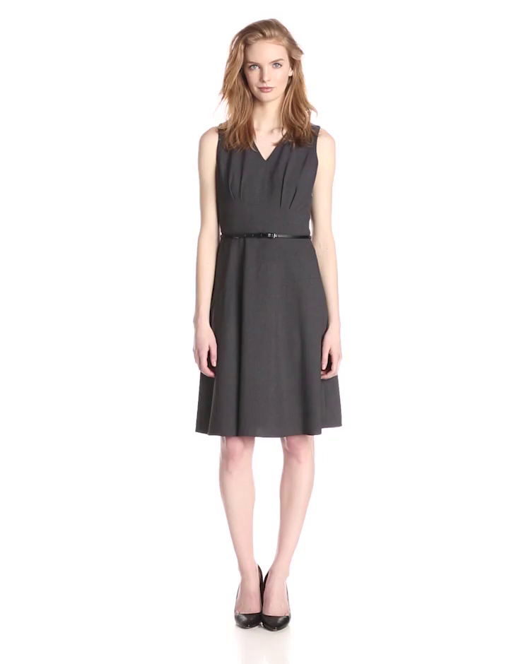 Calvin Klein Women's Sleeveless Fit and Flare Belted Dress, Charcoal, 10