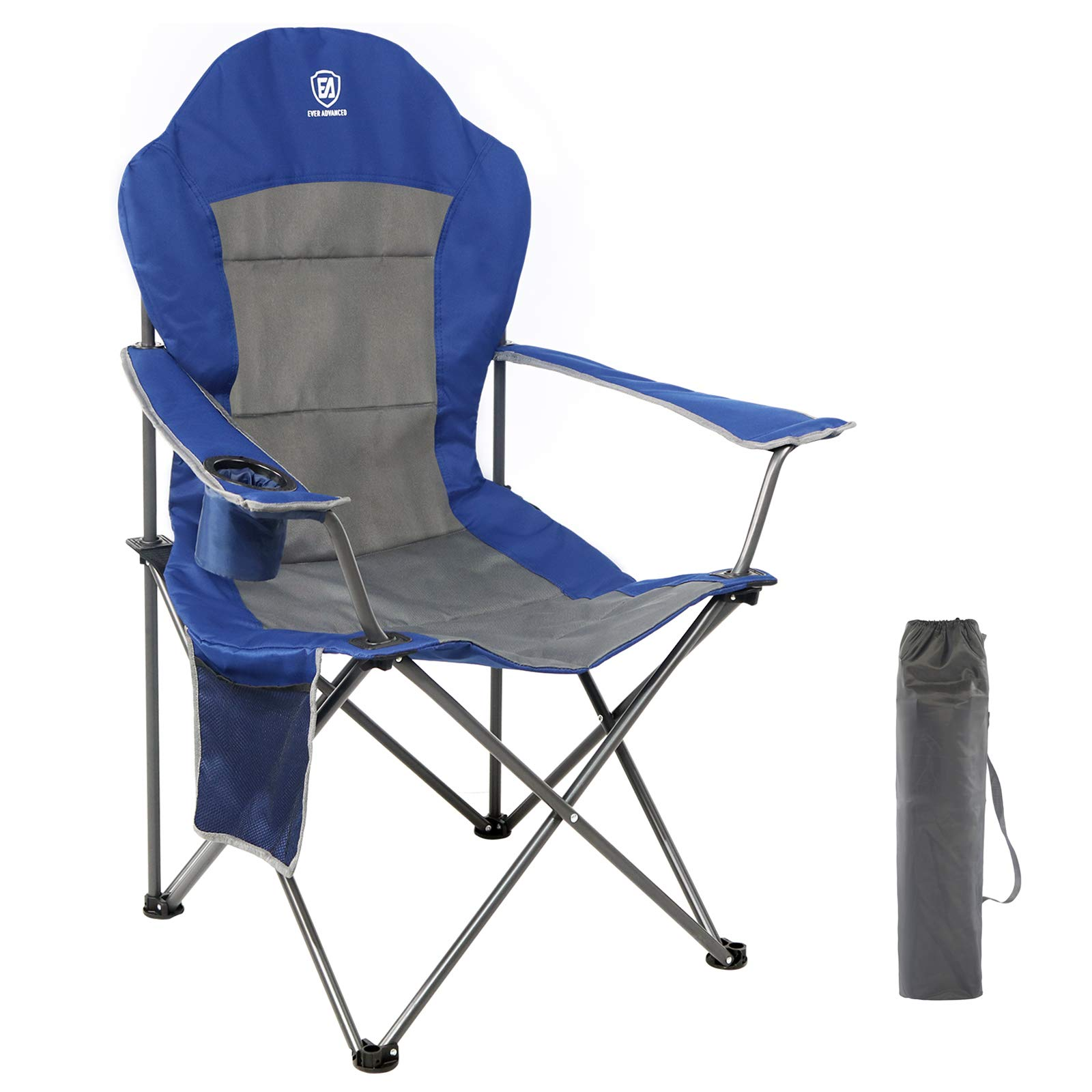 KingCamp Steel Tubes Padded Folding Camping Chair W// Cup Holder Support 350 LBS