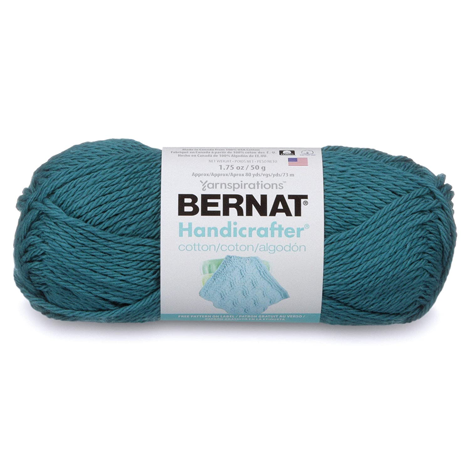 Bernat Handicrafter Cotton-Solids Yarn, Teal