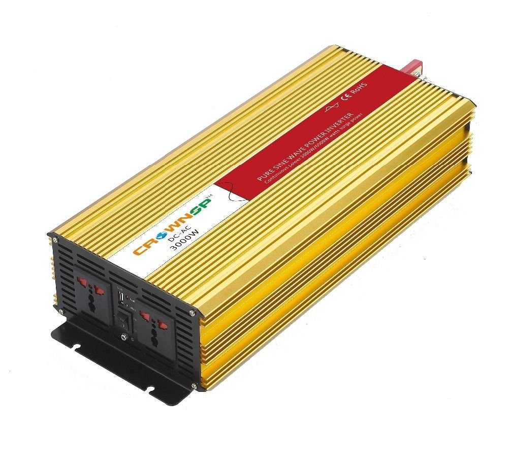 BBGS 3000W Pure Sine Wave Inverter AC110V TO DC Power Inverter DC12 Connect Battery to USE 6000W Peak with LED LIGHT by Unknown