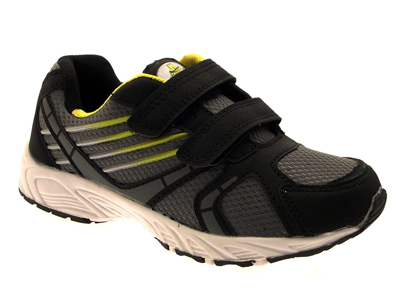CHILDRENS UNISEX KIDS BOYS GIRLS Hook And Loop TRAINERS RUNNING SPORTS  SHOES PUMPS CUSHIONED GREY BLACK YELLOW SIZE 11  Amazon.co.uk  Shoes   Bags acbd7e629