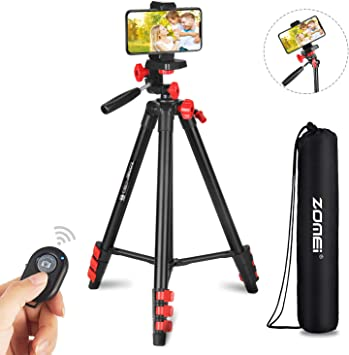 Lightweight Aluminum Camera Tripod Stand with 360/° Ball Head and Bluetooth Remote Control Professional Portable All in one T80 Camera Tripod