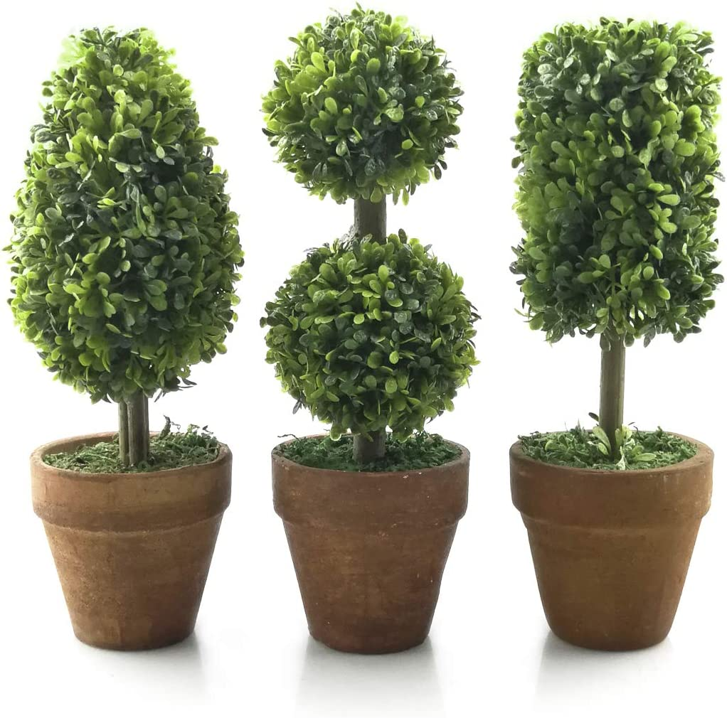 "Tuokor Small Artificial Plants 8.25"" Tall Plastic Fake Green Topiary Shrubs with Pot for Home Décor – Set of 3"