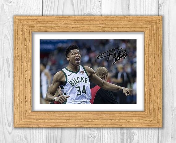 Giannis Antetokounmpo - Milwaukee Bucks - NBA 1 SP - Signed Autograph Reproduction Photo A4 Print (Print Only): Amazon.es: Hogar