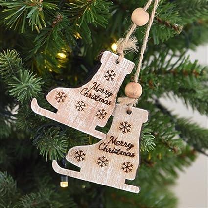 Amazon Com Penate Wooden Christmas Tree Ornaments Pendants Merry