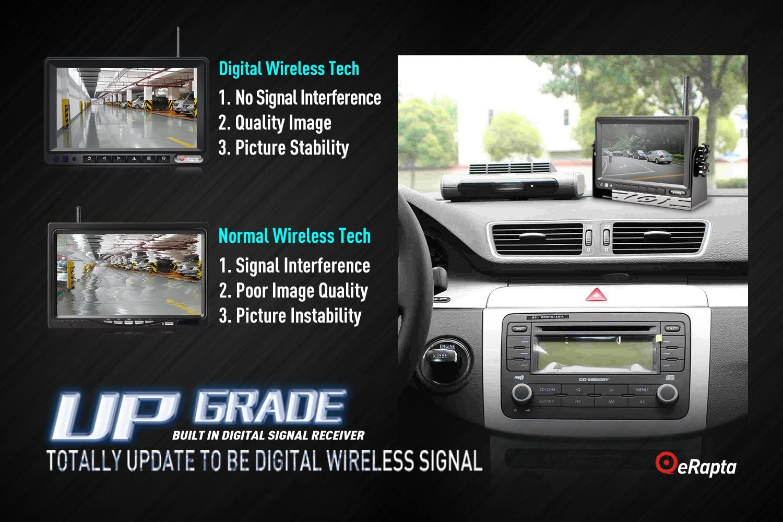 eRapta Wireless Backup Camera and Monitor Kit Reverse Rearview Cam Digital Signal 2018 Update for Truck//Trailer//Bus//RV//Pickups//Camper//Motorhome//Van When Reversing Parking Backing Up E1