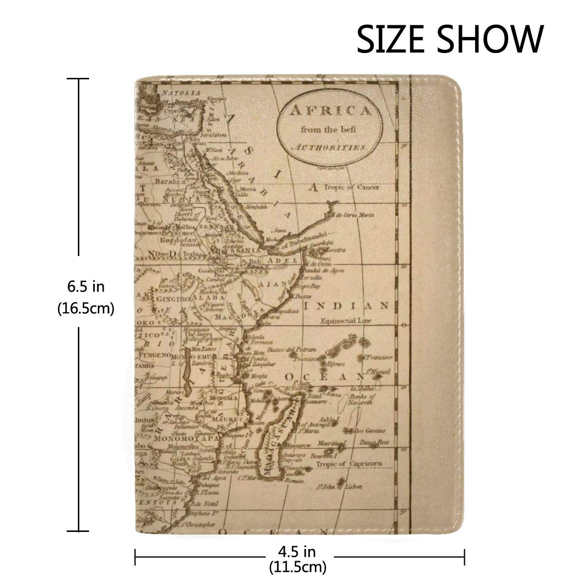 Retro Africa Map Fashion Leather Passport Holder Cover Case Travel Wallet 6.5 In
