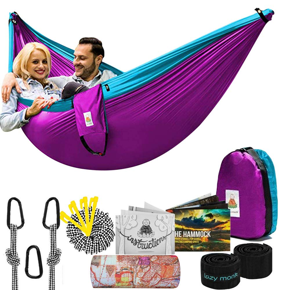 Lazy Monk Camping Hammock Double Portable Tent I 2 Person Outdoor Hammocks with Tree Straps - Best Accessories Kit + Bandana by Lazy Monk