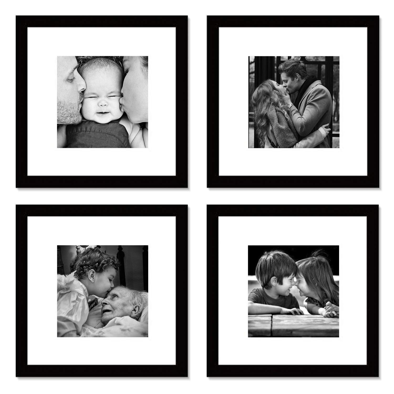 WOOD MEETS COLOR Picture Frames Set, Wall Gallery Collage Frames, Photo Mats (4-12x12)