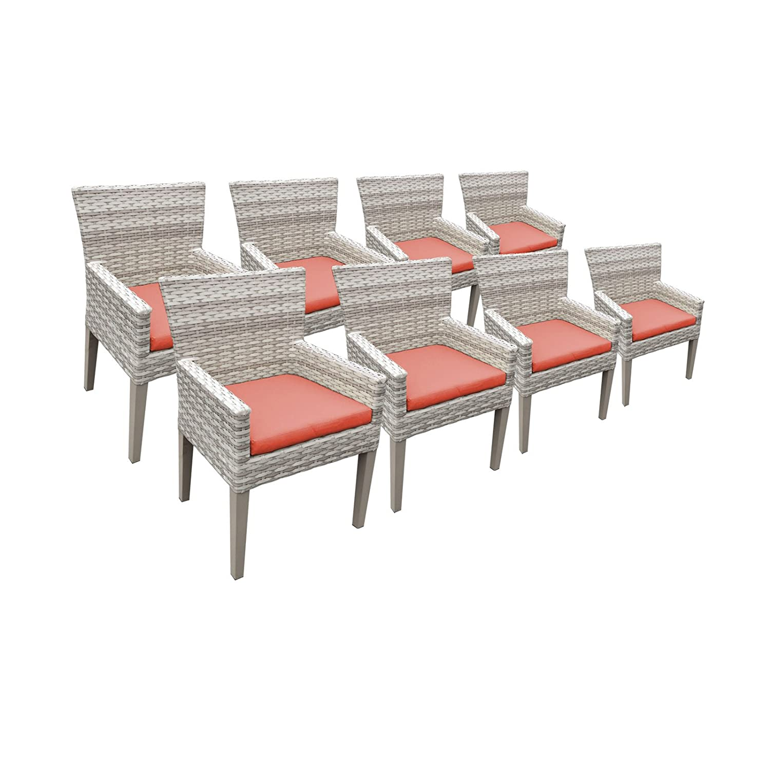 Amazon com tk classics fairmont 8 piece dining chairs with arms cocoa garden outdoor