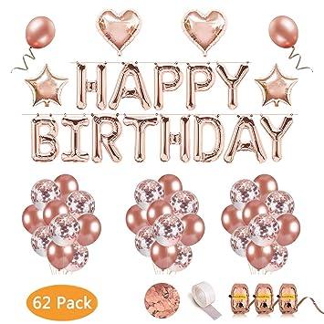 LYLIN Oro Rosa Cumpleaños Globos , Cumpleaños Fiesta Decoración con Happy Birthday Pancartas 15 Confeti Globos 25 Globos de Látex 4 Forma de Estrella ...