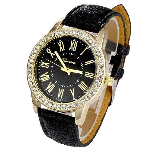 JSDDE Uhren,Luxus Genf Roemisch Ziffern Armbanduhr mit Strass Lederarmband Damenuhr Analog Quarzuhr