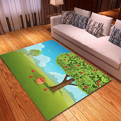 Rouihot Non Slip Area Rug 2 7 X 6 Green Tree Apple Orchard Basket Of Apples Landscape Red Rugs Carpet For Classroom Living Room Bedroom Dining Kindergarten Room Kitchen Dining