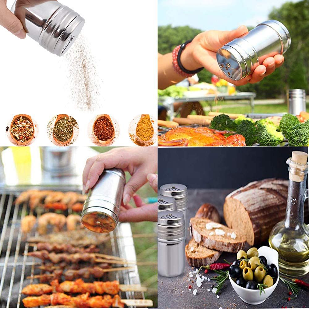 VEIREN 3 Pack Seasoning Bottle Stainless Steel Airtight Sauce Bottle Condiment Container Salt Spice Sugar Pepper Flavour Can with Rotating Shaker Pour Holes for Kitchen Cooking Barbecue Party Gadget