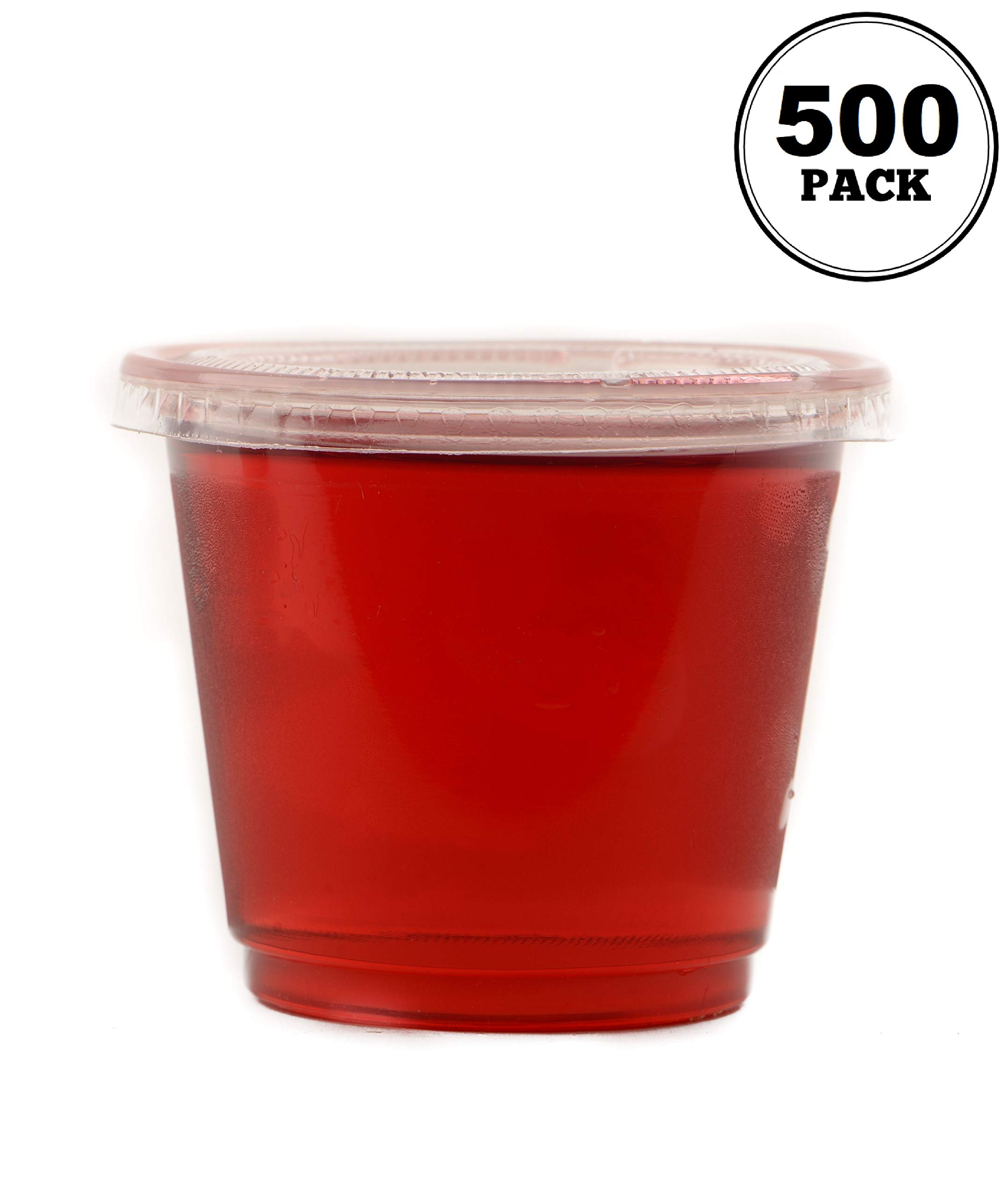 EcoQuality [500 Pack] 4 Oz Leak Proof Plastic Condiment Souffle Containers with Lids - Plastic Portion Cup with Plastic Lid Perfect for Sauces, Samples, Slime, Jello Shot, Food Storage & More! by EcoQuality