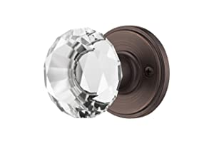 Decor Living, AMG and Enchante Accessories, Diamond Crystal Door Knobs with Lock, Privacy Function for Bed and Bath, Venus Collection, Venetian Bronze