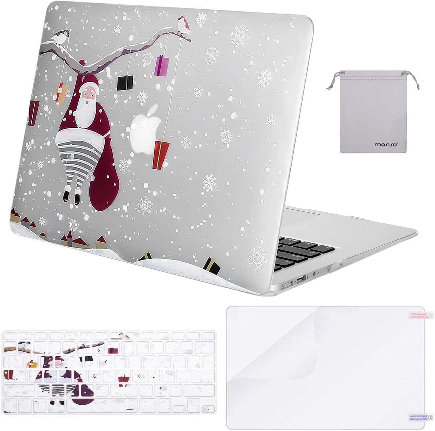 MOSISO Compatible with MacBook Air 13 inch Case (A1369 A1466, Older Version 2010-2017 Release), Plastic Pattern Hard Shell Case & Keyboard Cover & Screen Protector & Storage Bag, Snow Flake Clear Base