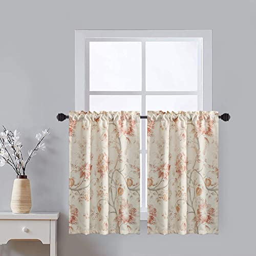 Leeva Kitchen Small Curtains Tiers for Windows Dining Room Red Flowers, Watercolor Plant Pattern Rustic Design Thermal Insulated Tier Curtains for Door Head, One Set of 2 Pics, 30x36