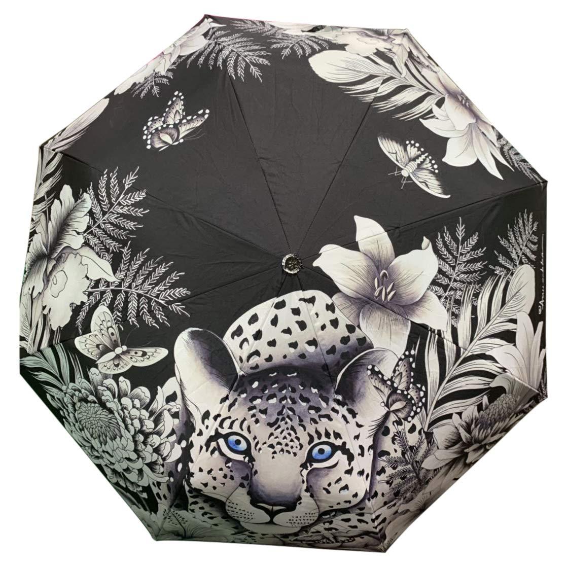 Anuschka Umbrella AUTO Open/Close | UPF 50+ Max Sun protection | 38'' Waterproof Canopy | Fits in Handbag | Windproof Flexible Fiberglass | Cleopatra's Leopard