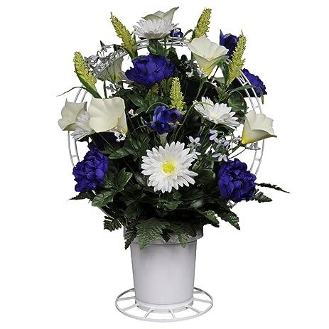 Amazon purple peonies and white calla lilies silk flower basket purple peonies and white calla lilies silk flower basket by sympathy silks ba1567 mightylinksfo