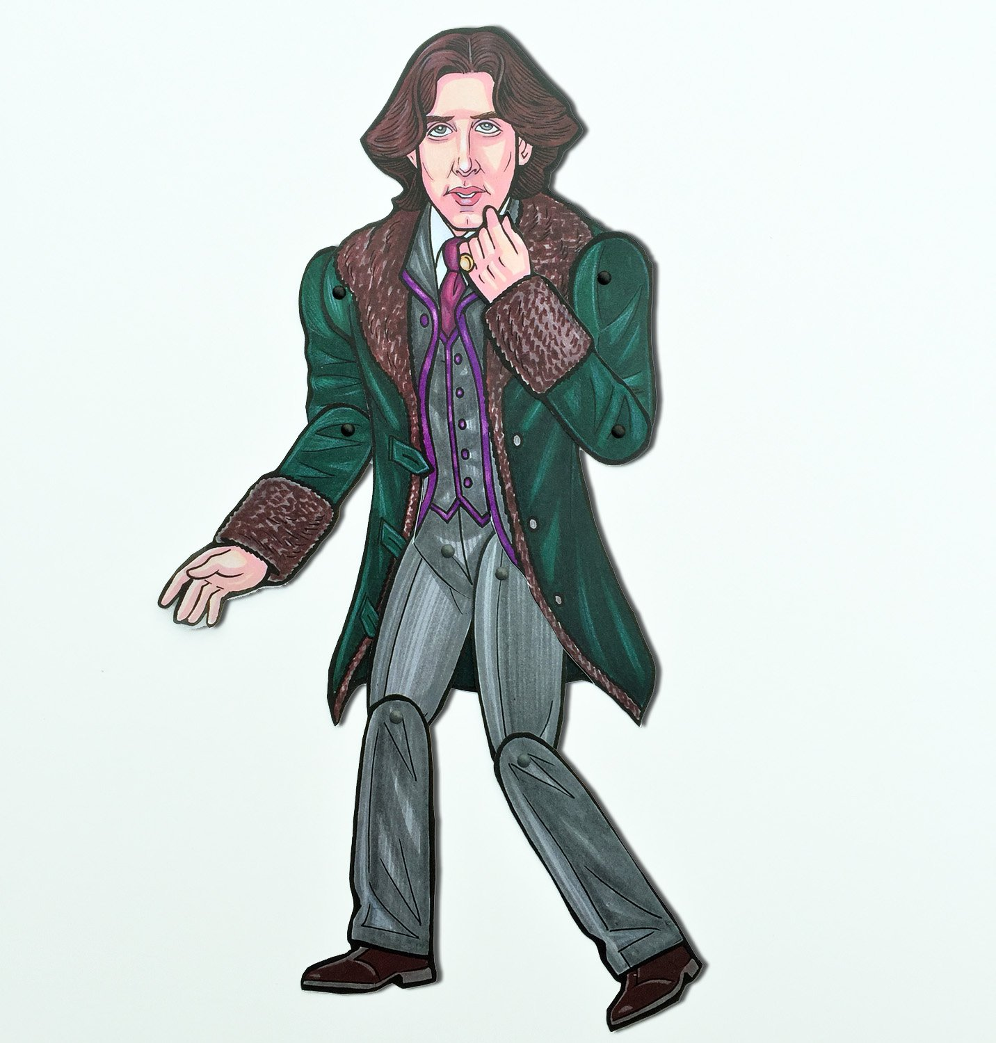 Oscar Wilde Jointed Art Print Articulated Paper Doll by Ardently Crafted