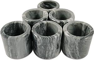 LUHOM LUJOSO HOGAR MEXICO Set of 6 round-shaped napkin rings made of natural marble in Mazahua Grey