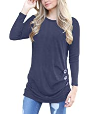MBIGM Women's Long Sleeve Casual Crew Neck Outerwear Loose Tunic Tops Blouse T-Shirt