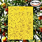 """20-Pack Yellow Bugs Traps Sticky Board, Dual-Sided Fruit Fly Trap Sheets (6""""×8"""") for Fungus Gnats, Flying Aphid insect, Garden, Lawn, Farm Pest Controlling Board (Twist Ties included)"""