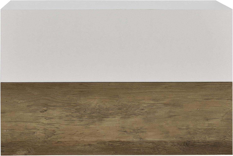 en.CASA 2 /Étag/ères Murales pour Chambre /à Coucher avec 2 Tiroirs Blanc Mat et Laqu/é 46x30x15cm