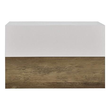 [en.casa]®] Set de 2 Mesitas de Noche de Pared con cajón - Apariencia de Madera/Blanco Mate - 46x30x15cm
